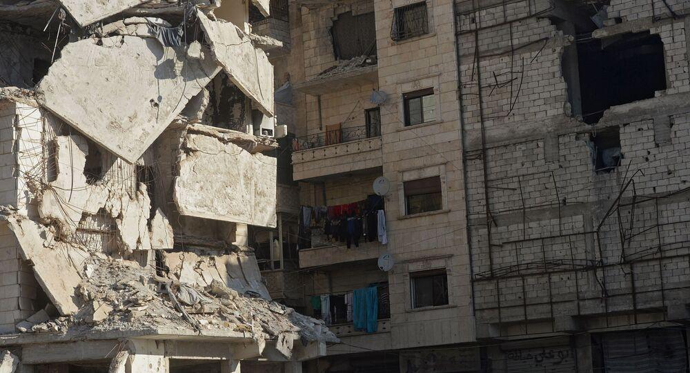 بناية مدمرة في حلب