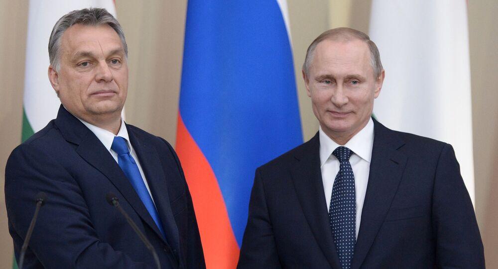 الرئيس الروسي فلاديمير بوتين ورئيس وزراء هنغاريا فيكتور أوربان