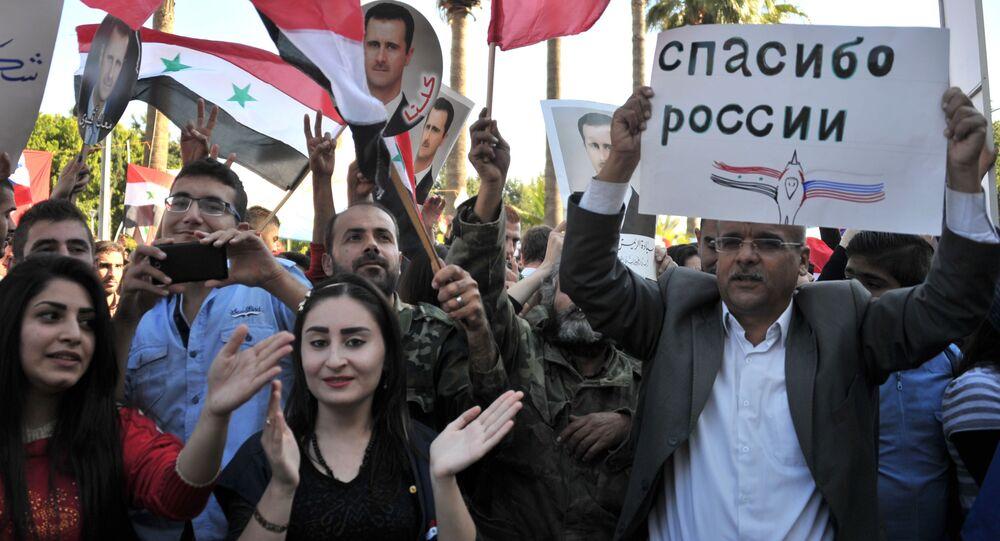 مظاهرة في مدينة طرطوس لمساندة العملية العسكرية الروسية في سوريا.