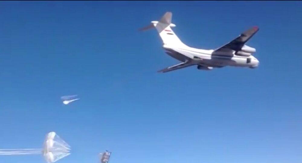 إلقاء مساعدات إنسانية روسية في سوريا