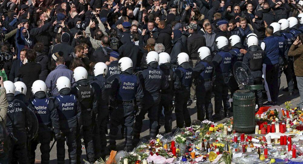 احتجاجات ضد موجة الأعمال الإرهابية في بروكسل، بلجيكا 27 مارس/ آذار 2016.
