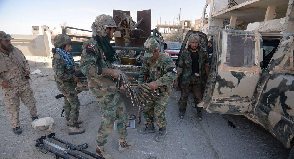قوات الجيش العربي السوري وقوات الدفاع الوطني في مدينة القريتين، وذلك بعد تحريرها من تنظيم داعش.