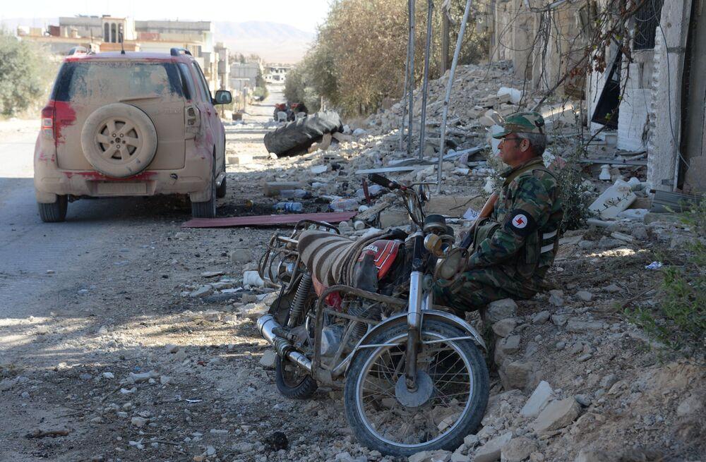مدينة القريتين المحررة من قبل قوات الجيش العربي السوري وقوات الدفاع الوطني.