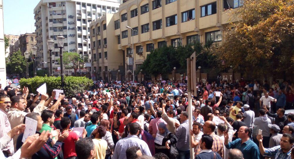 تجمع المتظاهرين على سلم نقابة الصحفيين جمعة الأرض