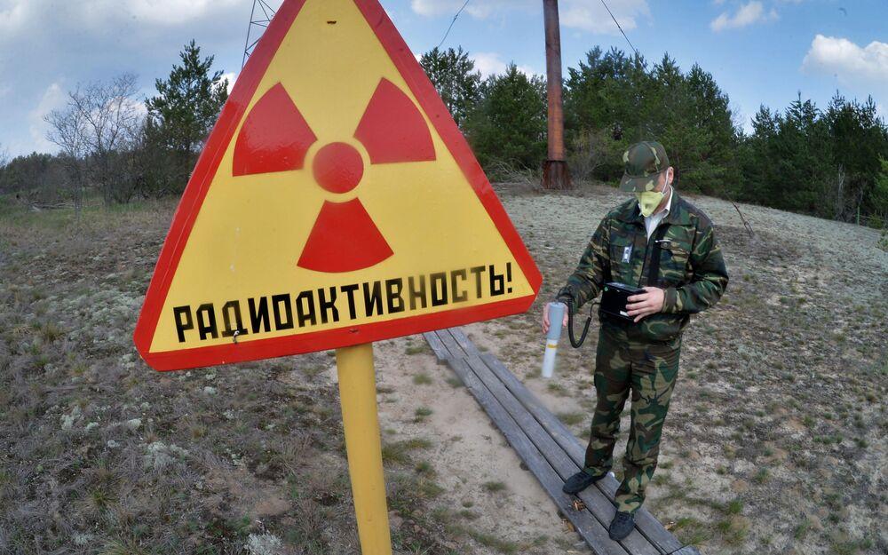 موظف في المحمية الحكومية للإشعاع البيئي يقوم بالمسح الإشعاعي بمنطقة محطة البحوث ماساني، والتي توجد في محيط المحطة النووية تشيرنوبيل.