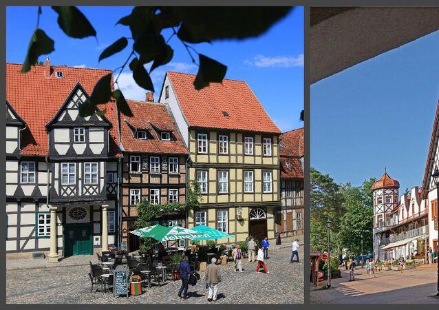 يسار - سياح في البلدة القيمة كيدلينغبرغ في ألمانيا الشرقية.  يمين - بلدة في كالينينغراد.