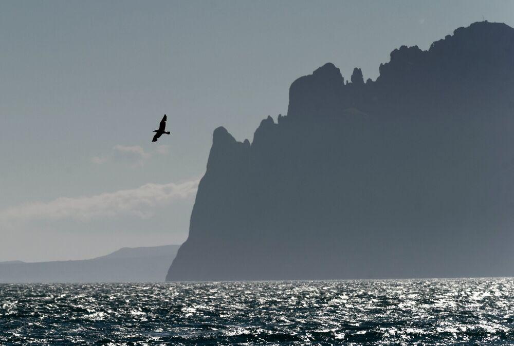 جبل كارا-داغ في قرية أورجونيكيدزي بشبه جزيرة القرم.