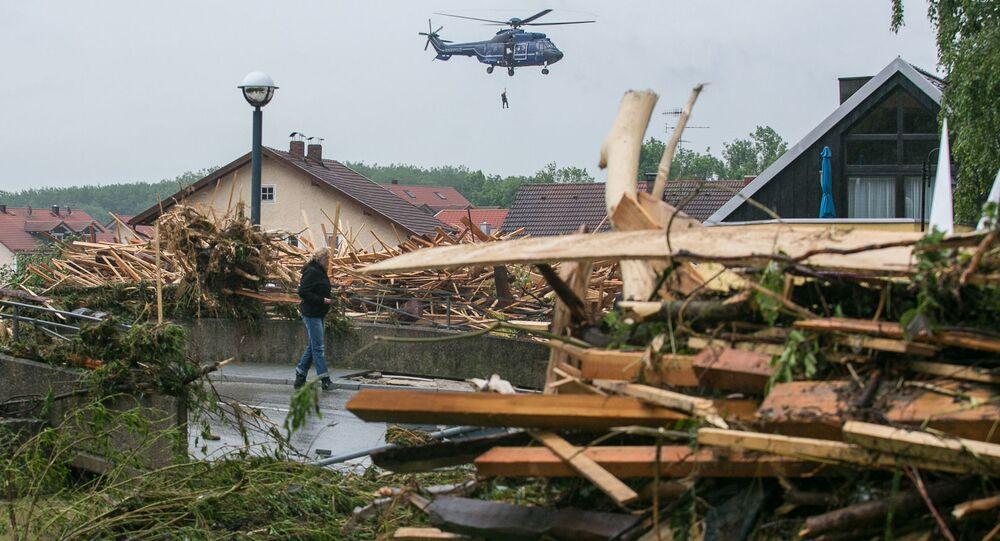 ألمانيا - الفيضانات تجتاح بلدة زيمباخ آم إن جنوب ألمانيا، 1 يونيو/ حزيران 2016.