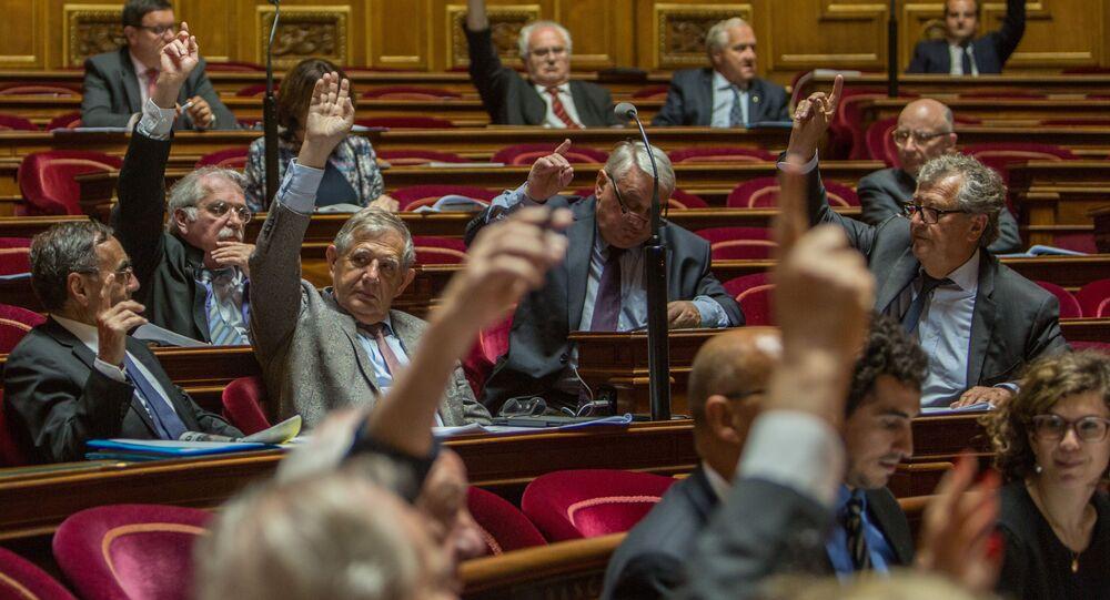 أعضاء مجلس الشيوخ الفرنسي خلال تصويتهم لتبني قرار يدعو إلى تخفيف العقوبات ضد روسيا.