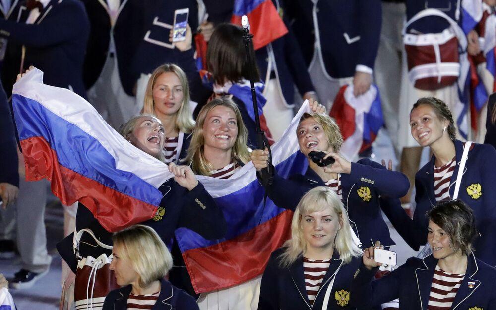 الفريق الرياضي الروسي خلال مراسم افتتاح ألعاب أولمبياد ريو 2016، 5 أغسطس/ آب 2016