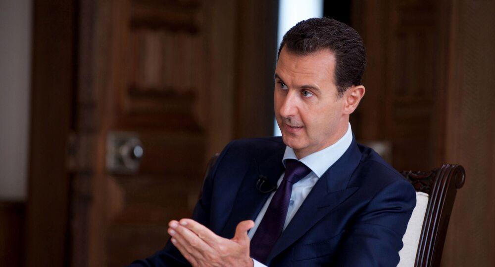 الرئيس السوري بشار الأسد خلال مقابلة مع قناة تلفزيونية أسترالية SBS في دمشق، سوريا 1 يوليو/ تموز 2016
