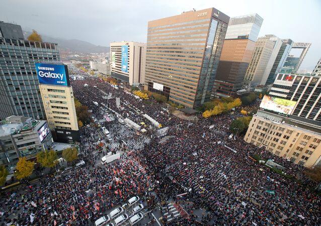 مظاهرة في كوريا الجنوبية