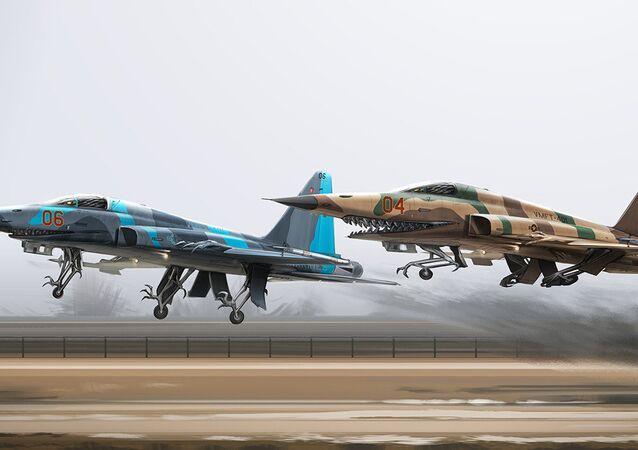 مقاتلات إف-5إس تقلع من المطار