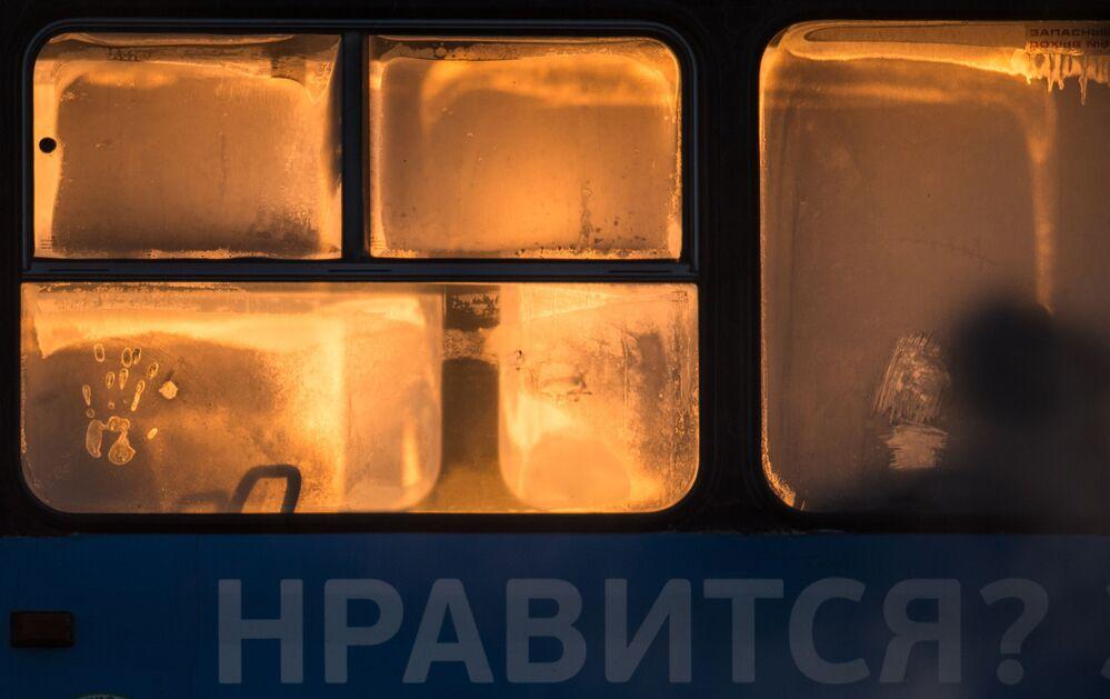 نوافذ باص عمومي في البرد القارس بمدينة أومسك، روسيا