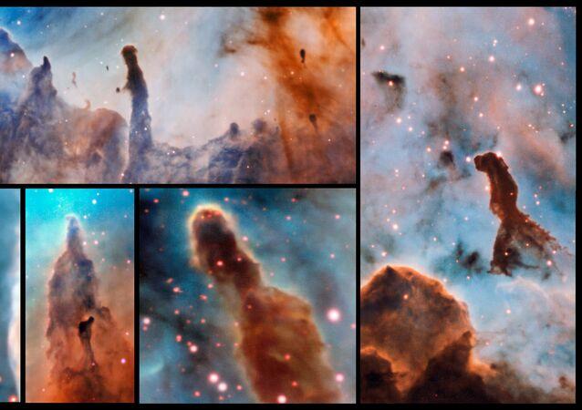صورة لضباب سديم القاعدة أو كارينا نيبولا (Carina Nebula)، باستخدام تلسكوب الفضاء الضخم ESO.