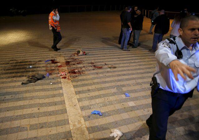 موقع عملية تفجيرية في تل أبيب