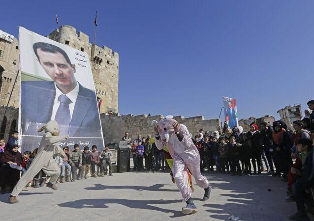 صورة الرئيس بشار الأسد في حلب