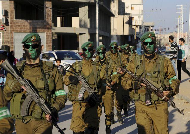 كتائب عزالدين القسام، الجناح العسكري التابع لحركة حماس في قطاع غزة، فلسطين 19 يناير/ كانون الثاني 2017