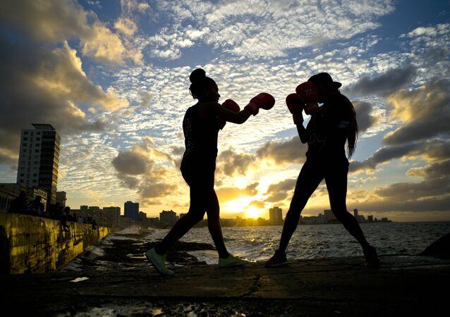 الملاكمة النسائية في هافانا، كوبا 30 يناير/ كانون الثاني 2017