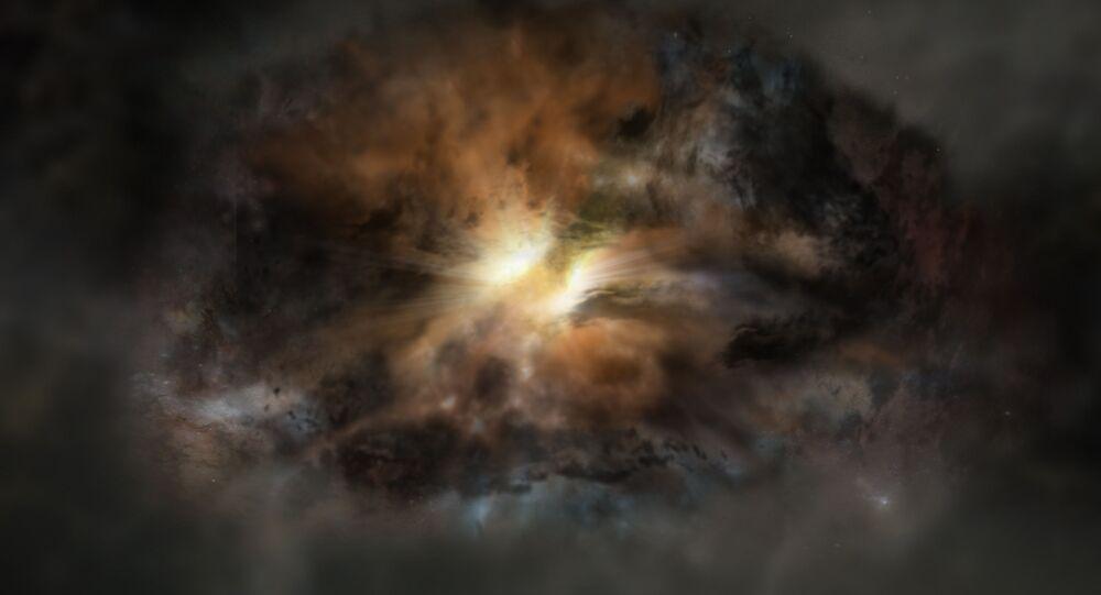 رسم توضيحي لفنان للمجرة الأكثر سطوعاً في الكون واسمها W2246-0526. وتشير البحوث العلمية الأخيرة إلى وجود غازات مضطربة في هذه المجرة، وهي الأولى من نوعها.