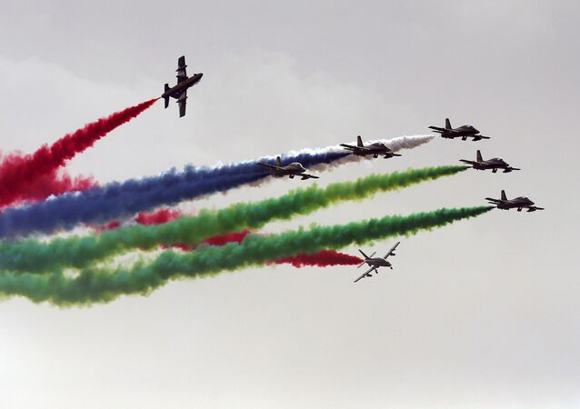 القوات الجوية الإماراتية خلال معرض آيدكس الدولي للسلاح والمعدات العسكرية في أبو ظبي، الإمارات العربية المتحدة 19 فبراير/ شباط 2017