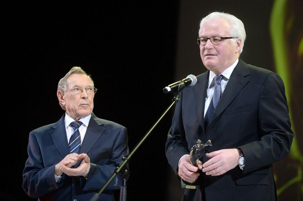 ممثل روسيا الدائم لدى الأمم المتحدة فيتالي تشوركين خلال حفل توزيع جائزة فيميد لـشخصية سياسية