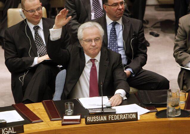 ممثل روسيا الدائم لدى الأمم المتحدة فيتالي تشوركين خلال التصويت على قرار فرض حظر جوي في ليبيا (تشوركين يمتنع)، نيويورك، 11 مارس/  آذار 2011