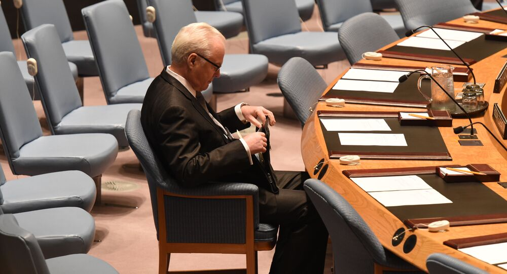 ممثل روسيا الدائم لدى الأمم المتحدة فيتالي تشوركين بمجلس الأمن في نيويورك، 13 ابريل/ نيسان 2014