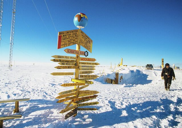 Traffic signs at the Vostok Soviet Antarctic research station in the vicinity of the South Geomagnetic Pole, 1989