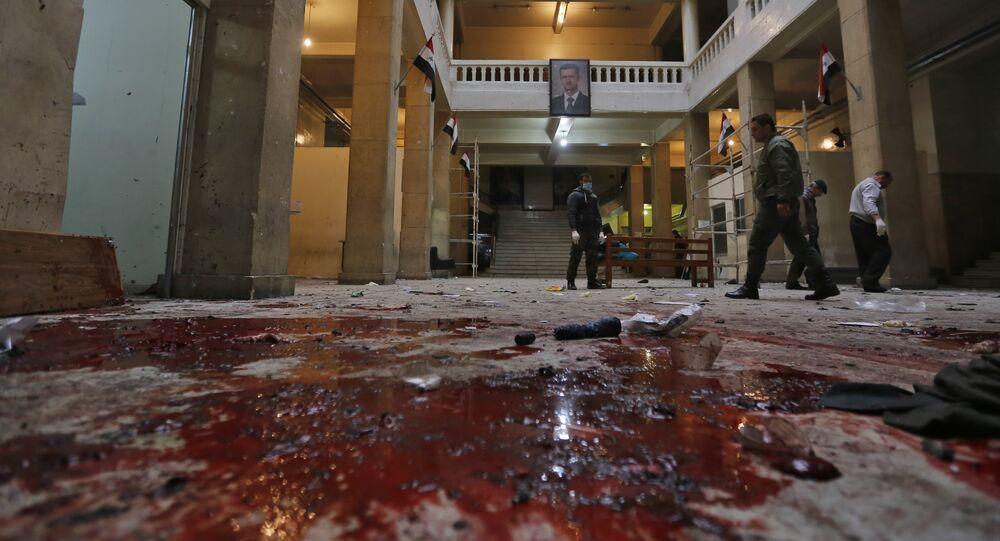 انفجار بمبنى القصر العدلي في منطقة سوق الحميدية بدمشق