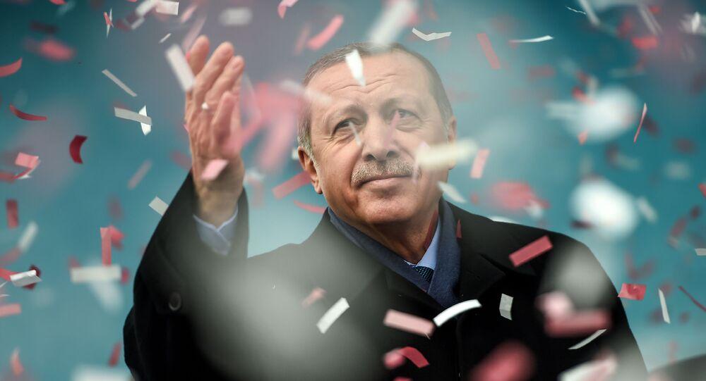 الرئيس التركي رجب طيب إردوغان خلال مظاهرة في اسطنبول تندد بأفعال هولندا الأخيرة، تركيا 11 مارس/ آذار 2017