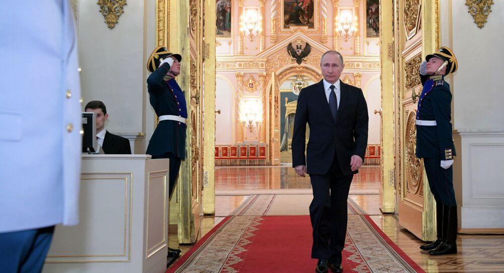 الرئيس فلاديمير بوتين خلال مراسم تعيين الضباط الروس لمناصب علية