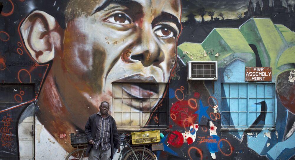 رسم غرافيتي للرئيس الأمريكي السابق باراك أوباما في نايبوري، كينيا