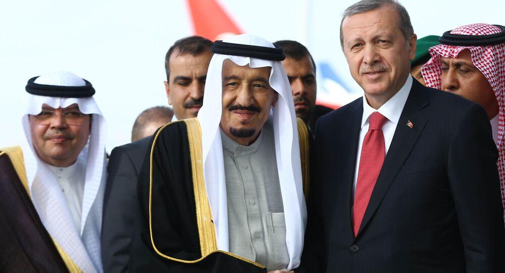 الملك السعودي سلمان بن عبد العزيز آل سعود مع الرئيس التركي رجب طيب أردوغان