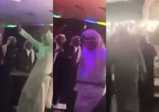 رقص الرجال في صالة أفراح للنساء في السعودية