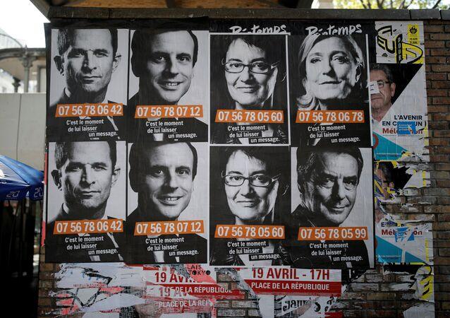 ملصقات دعائية للمرشحين في الانتخابات الفرنسية