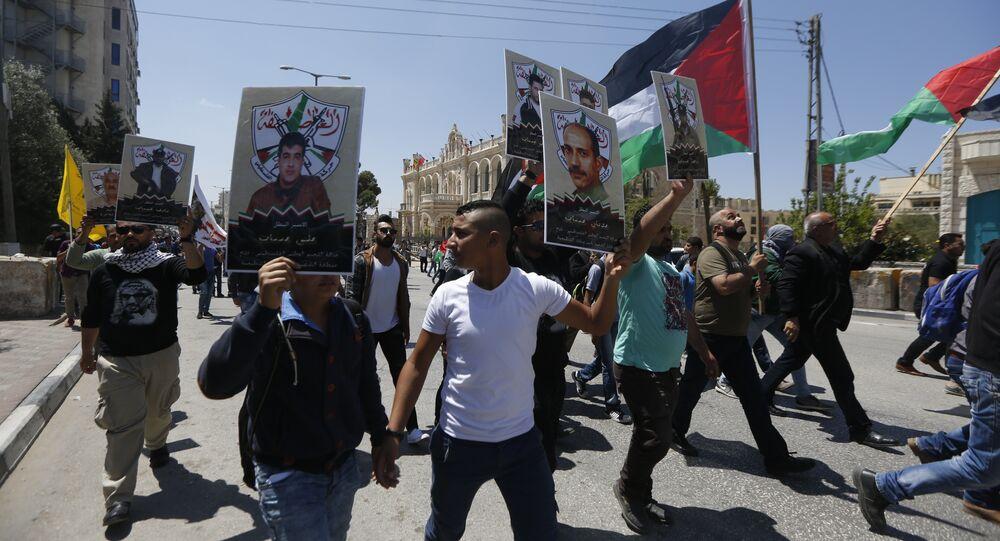 مسيرة تضامنية مع أسرى ، الضفة الغاربية، فلسطين