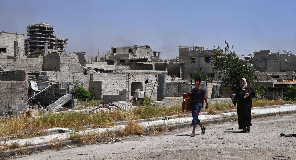 الوضع في حي القابون بضواحي مدينة دمشق