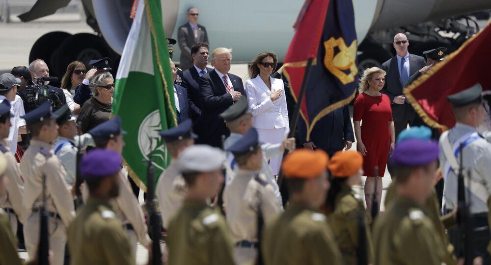 الرئيس دونالد ترامب وزوجته ميلانيا ترامب يصلان تل أبيب، 22 مايو/ آيار 2017
