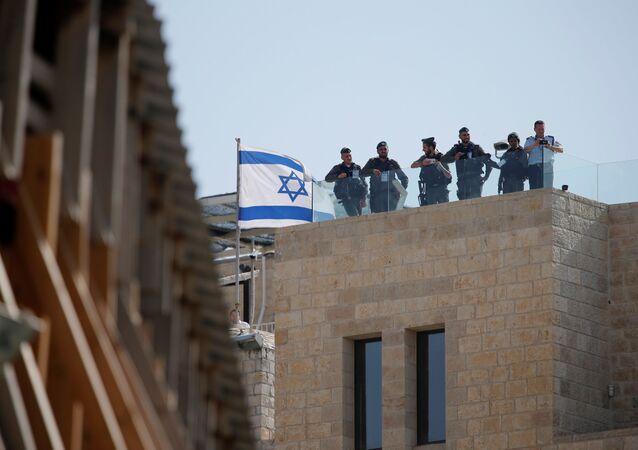 جنود إسرائيليون عقب زيارة الرئيس الأمريكي دونالد ترامب إلى القدس، 24 ماية/ آيار 2017