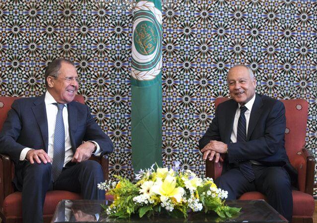 وزير الخارجية الروسي سيرغي لافروف يلتقي مع الأمين العام لجامعة الدول العربية، أحمد أبو الغيط