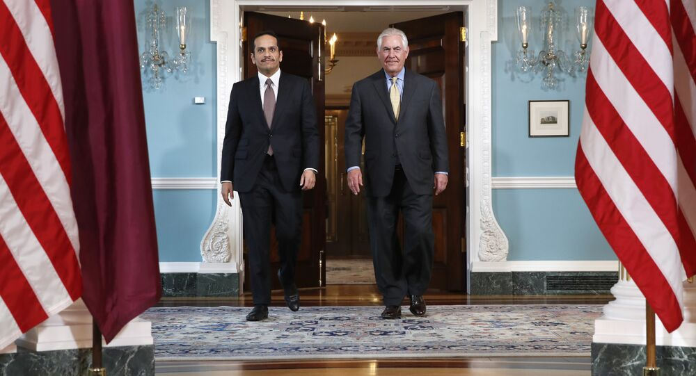 وزير الخارجية القطري محمد بن عبد الرحمن آل ثاني يلتقي مع نظيره الأمريكي ريكس تلرسون