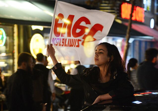 Supporters of Turkish President Recep Tayyip Erdogan celebrate victory in the Turkey's constitutional referendum. File photo