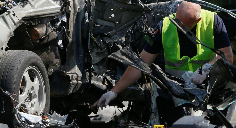 موقع تفجير سيارة مسؤول المخابرات العسكرية الأوكرانية