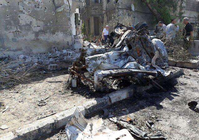 احتراق السيارة المفخخة في دمشق