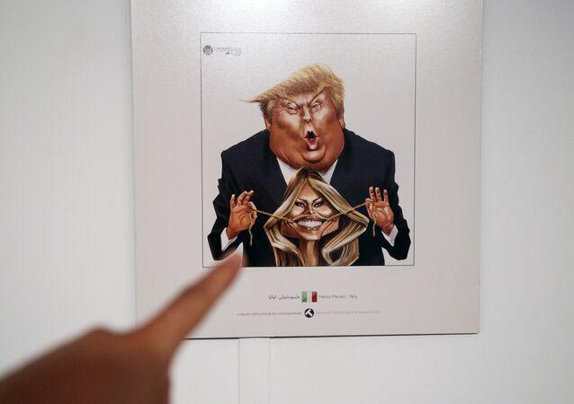 صورة كاريكاتيرية لترامب في معرض الكاريكاتير بطهران