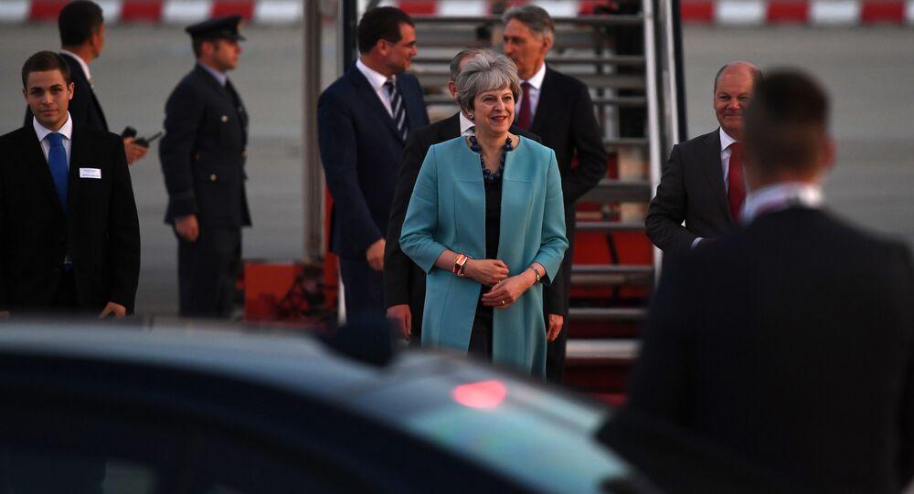 قمة مجموعة العشرين - رئيسة الوزراء بريطانيا تيريزا ماي في هامبورغ، ألمانيا 6 يوليو/ تموز 2017