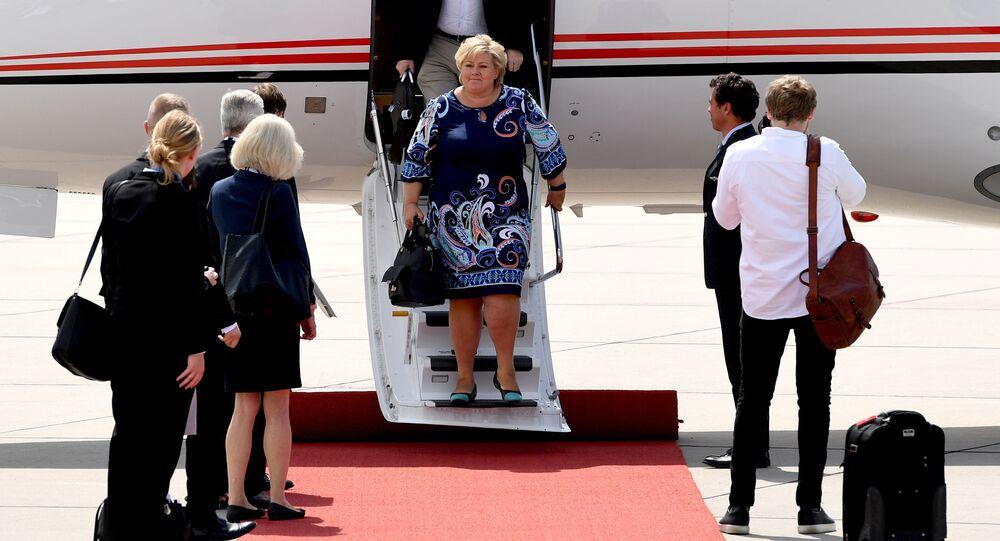 قمة مجموعة العشرين - رئيسة وزراء النرويج إرنا سولبرغ في هامبورغ، ألمانيا 6 يوليو/ تموز 2017