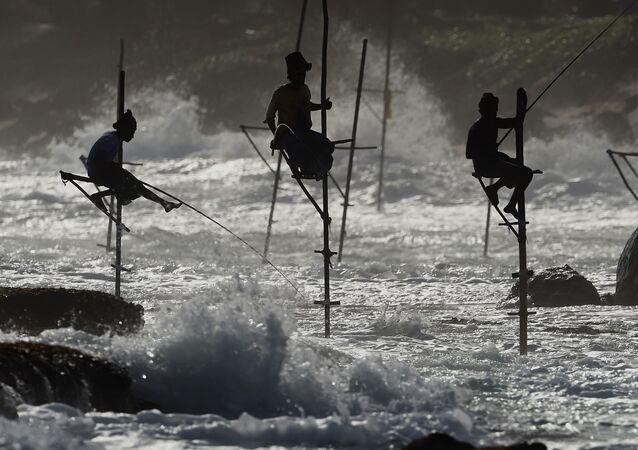 صيادون يصطادون الأسماك في مدينة غالي، سريلانكا 1 يوليو/ تموز 2017
