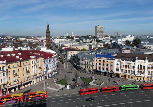 مشهد يطل على شارع باومانا بمدينة قازان بجمهورية تتارستان، روسيا